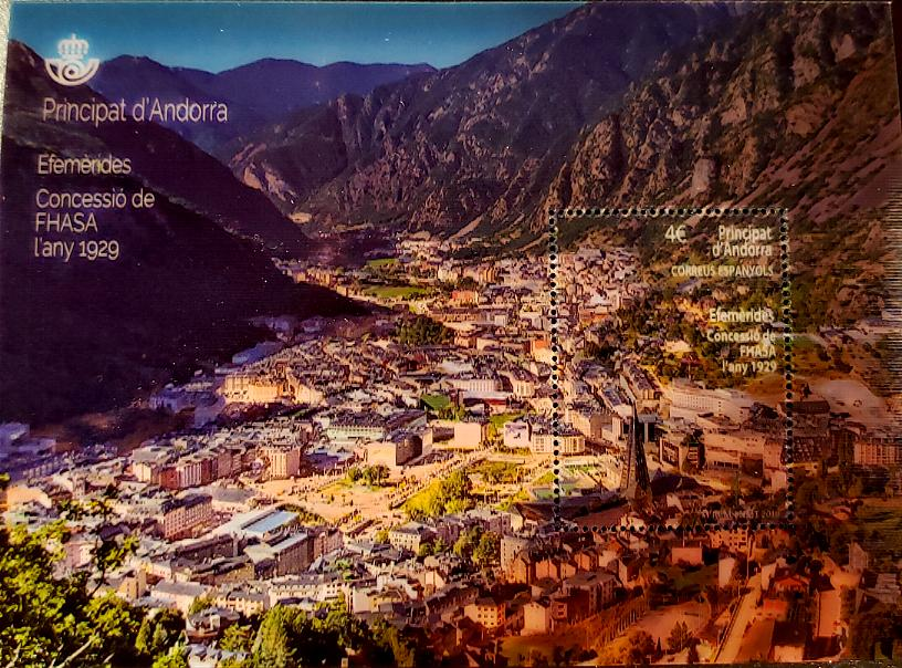 ANDORRA-SPANISH - Electricity Self-Adhesive Lenticular Souvenir Sheet - Mountains Panorama in Daylight & Night (1)