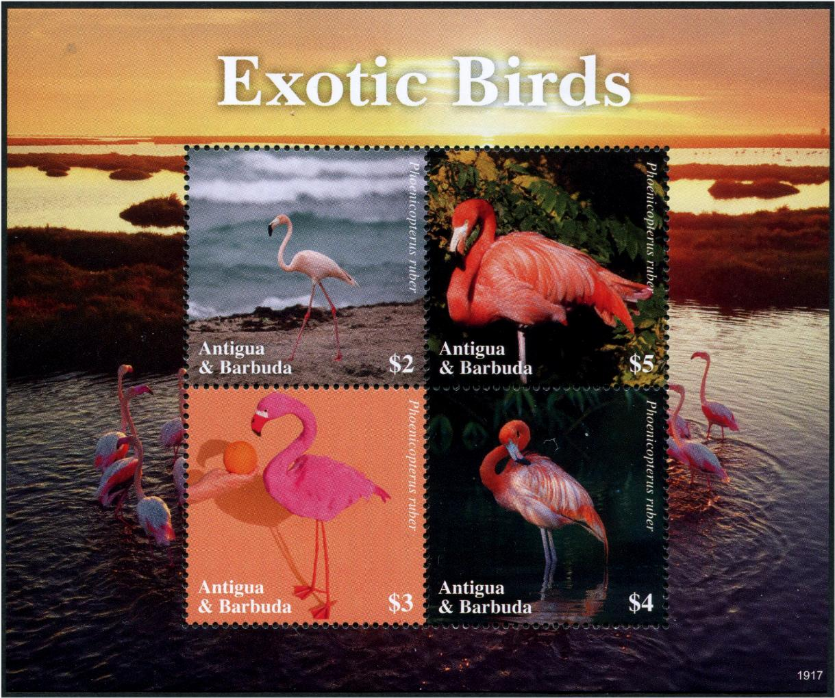 ANTIGUA - Flamingos Sheetlet of 4 Different (1)