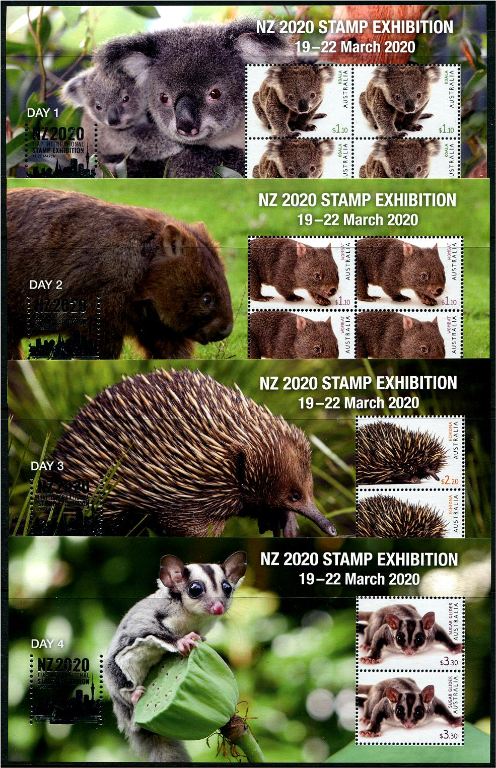 AUSTRALIA - New Zealand 2020 Exhibition Set of 4 Souvenir Sheets Day 1-Day 4 with Silver Foil (Koala, Wombat, Etc.) (1)