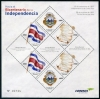 COSTA RICA - Bicentenary of Independence Sheetlet of 6 (3 Different) with labels (1)