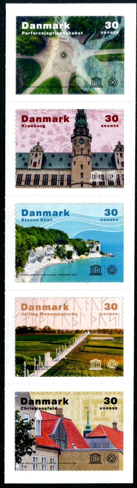 DENMARK - UNESCO World Heritage Sites Self-Adhesive Strip of 5 Diff.  High Face Value (P/3 @ Face) (1)