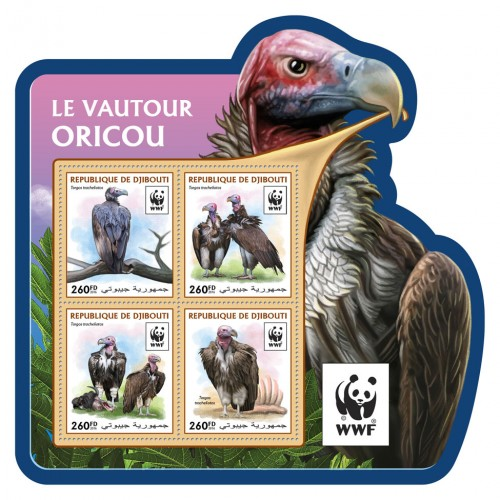 DJIBOUTI - Sc. #1059 WWF Vultures Shaped Sheetlet of 4 Different (1)