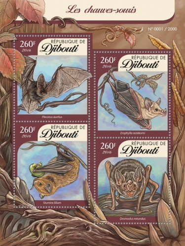 DJIBOUTI - Sc.# 859 Bats Sheetlet of 4 Different (Per 1 @ Face) (1)