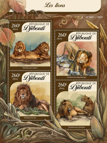DJIBOUTI - Sc.# 861 Lions Sheetlet of 4 Different (Per 1 @ Face) (1)