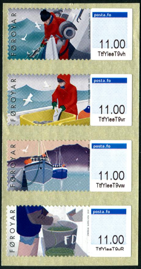 FAROE ISLAND - Fishing 2019 Frama Labels Self-Adhesive Strip of 4 Different (P/3 @ Face) (1)