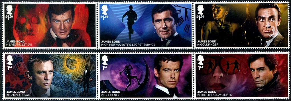 GREAT BRITAIN - James Bond Strips of 3 Different (Folded) (P/3 @ Face) (2)
