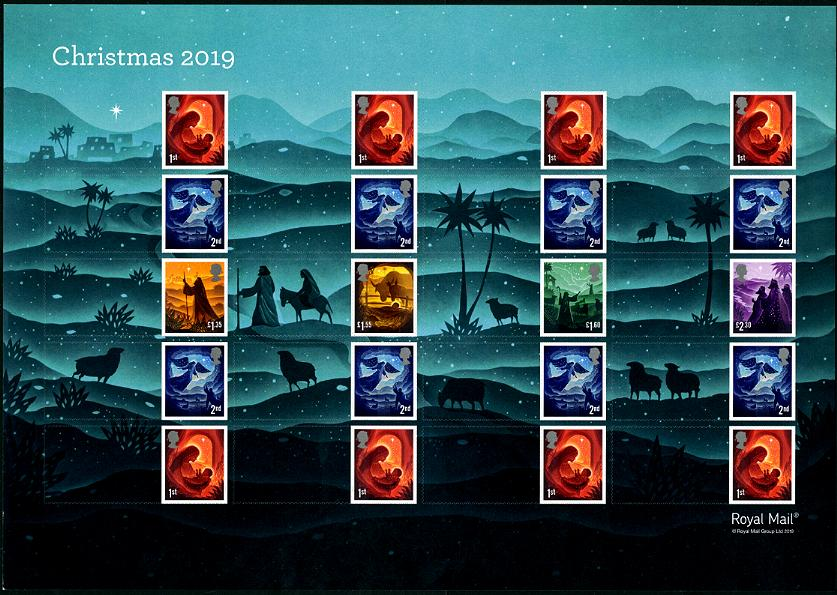 GREAT BRITAIN - Christmas 2019 Self-Adhesive Smiler Sheetlet of 20 with Labels (1)