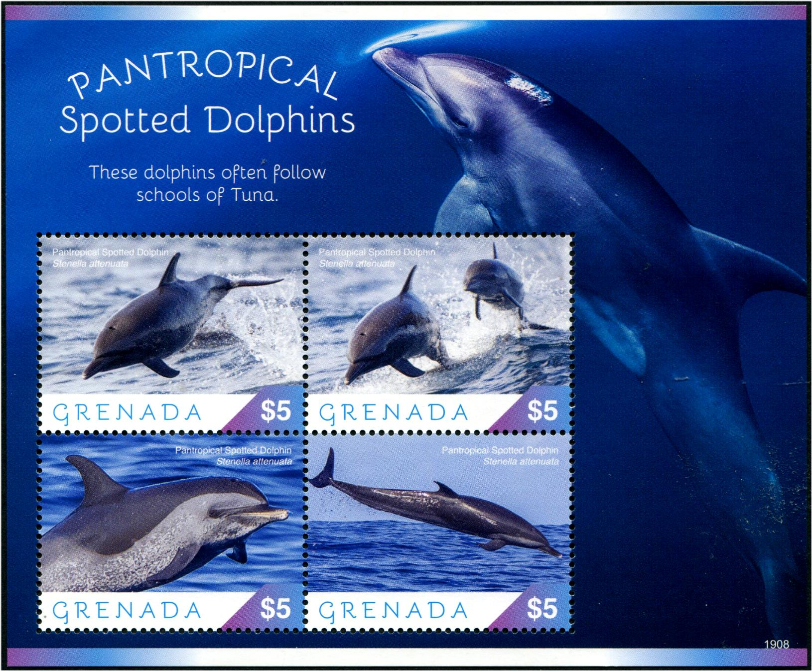 GRENADA - Dolphin Sheetlet of 4 Different (1)