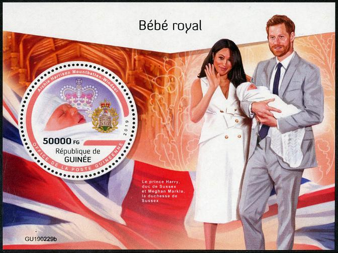 GUINEA - Royal Baby Archie Souvenir Sheet with Round Stamp (P/1 @ Face) (1)