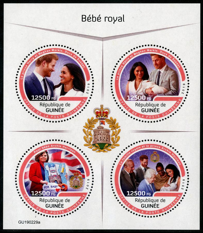 GUINEA - Royal Baby Archie Sheetlet of 4 Different (Round) (P/1 @ Face) (1)